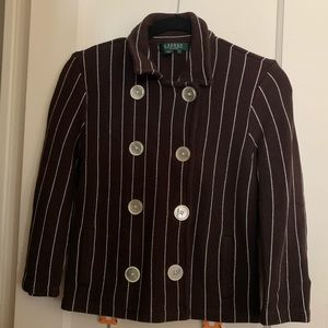 Ralph Lauren brown striped double breasted jacket
